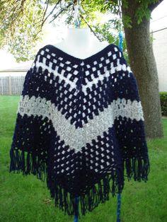 Crochet Poncho for Girl Poncho Shawl Boho Retro by ToppyToppyKnits