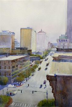 ღღ watercolor painting   Morning on Main by Judy Mudd