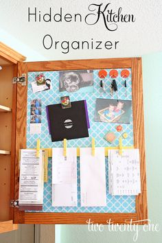 "Idea for a ""Family Command Center"". Step-by-step instructions for turning the inside of a kitchen cabinet into a neat and organized family command center Organisation Hacks, Organizing Hacks, Kitchen Organization, Organising, Storage Organization, Paperwork Organization, Organizing Clutter, Family Command Center, Command Centers"