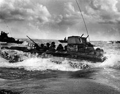 Marines in LVT-2 48 Water Buffalo Head for Tinian Shore