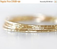 HOPPY EASTER SALE Gold Bangles / Stacking Bangles / Nu Gold Bracelets / Chic Fashion Fresh Finds Hand Hammered / Unique / Fashion Trend / Go by amywaltz #TrendingEtsy