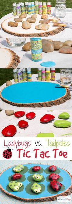 Paint your own ladybugs vs. tadpoles tic tac toe game. Tutorial at AttaGirlSays.com #outdooractivities