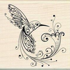 Inkadinkado Hummingbird with Flowers - Rubber Stamp - 123Stitch.