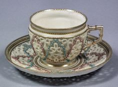 Grainger  Co Worcester Porcelain —  Cabinet Cup and Saucer, Late 19th Century  (372x500)