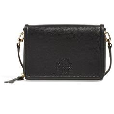 Women's Tory Burch 'Thea' Leather Flat Wallet Crossbody Bag ($295) ❤ liked on Polyvore featuring bags, wallets, black, tory burch bags, tory burch, pocket wallet, cross body and leather pocket wallet