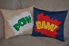 DIY superhero pillows--I think Macy would love these! (I think Mike would, too! Superhero Room, Superman Room, Batman Bedroom, Baby Boy Rooms, Diy Pillows, Cute Crafts, Cool Rooms, Baby Decor, Diy For Kids