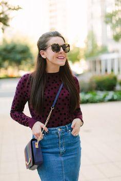 Fall Denim Skirt Styling l Karen Walker Sunglasses l Fashion & Frills Blogger l http://fashionandfrills.com/denim-skirt-styling-round-2/