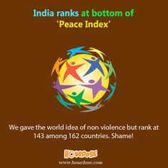 India ranks at bottom of 'Peace Index'