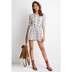 Forever 21 Tribal Print Open-Shoulder Romper ($25) ❤ liked on Polyvore featuring jumpsuits, rompers, short sleeve romper, tribal romper, forever 21 romper, white romper and playsuit romper
