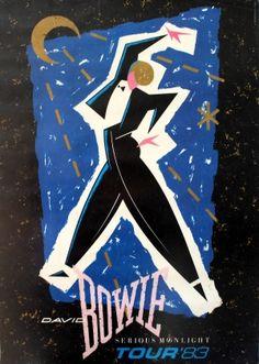 David Bowie Serious Moonlight Tour 1983 - original vintage poster listed on AntikBar.co.uk