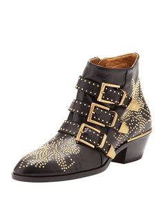 Suzanna Studded Bootie, Black by Chloe at Bergdorf Goodman.