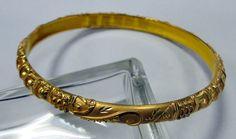 22 K solid gold bangle bracelet cuff handmade