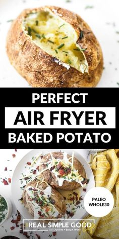 With crispy skin and a fluffy middle, these air fryer baked potatoes are our new favorite way to make baked potatoes. Load them up with your favorite toppings and and dig in! It's basically like making a baked potato in the oven, but the air fryer cooks them a little faster and makes the skin crispy. | @realsimplegood #paleodiet #paleorecipes #paleoairfryerpotatoes #paleosidedishes #healthycomfortfood Gluten Free Recipes Side Dishes, Veggie Recipes Healthy, Paleo Side Dishes, Side Dish Recipes, Paleo Recipes, Healthy Dinner Recipes, Easy Recipes, Making Baked Potatoes, Baked Potato Recipes