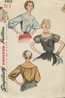 An original ca. 1953 Simplicity Pattern 4463.  Upper blouse and sleeve edges are gathered to join yoke.  Blouse has front button closing.  Three-quarter length sleeves of View 1 have pointed cuffs.  Neckline is finished with small collar.  View 2 features low rounded neckline.  Short sleeves are gathered and finished with bias band.