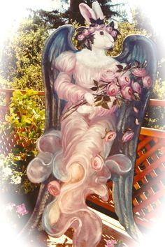 by Pamela Silin-Palmer   Google Image Result for http://thearthand.files.wordpress.com/2012/01/a-trompe-loeil-flying-rabbit-angel-c2a9-pamela-silin-palmer-1989.jpg%3Fw%3D426