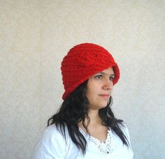 crochet hat Red Crochet Womans Handmade Hat with by AnatoliaDreams, $25.00