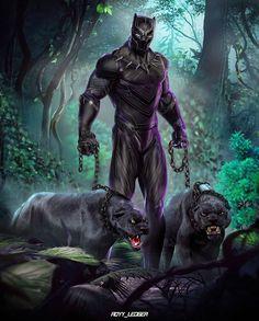 Pantera Negra e Jaguar Dourado por ! Black Panther Marvel, Black Panther Art, Marvel Comics, Marvel Art, Marvel Heroes, Comic Superheroes, Hulk Comic, Thor Marvel, Loki Thor