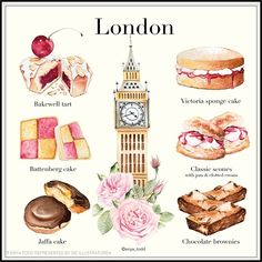 Explore Bath-based watercolor artist Enya Todd's fluid and expressive patisserie style illustrations Cake Drawing, Food Drawing, Dessert Illustration, Illustration Art, Desserts Drawing, Beaux Desserts, Jaffa Cake, Victoria Sponge Cake, Journal Design