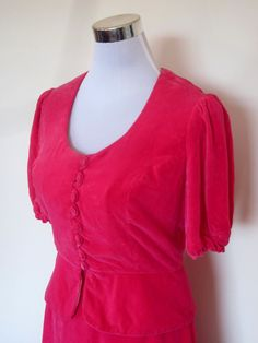 VINTAGE authentic 60s/70s retro festival hot pink velvet top skirt set (equiv sz us 8, uk au nz 12, eu 40) by shopblackheart on Etsy