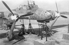 Messerschmitt Bf 110 during maintenance - frontal view ~ BFD