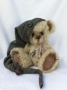 Button embellishments on vintage bear~Cute!