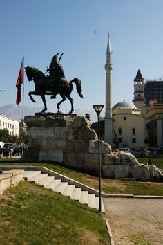 """Statue of Skanderbeg, Tirana, Albania.  George Kastrioti Skanderbeg (1405-January,17, 1468), widely known as Skanderbeg (meaning """"Lord Alexander"""" or """"Leader Alexander""""), was a 15th-century Albanian nobleman. He was appointed as the governor of the Sanjak of Dibra by the Ottomans in 1440.  Skanderbeg is Albania's most important national hero and a key figure of the Albanian National Awakening."""