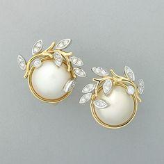 2323 Tiffany Garland Mabe Pearl Diamond Earrings On