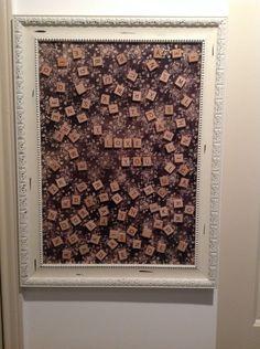Framed magnet board with magnetic scrabble tiles