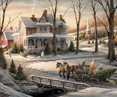 Here's another winter view from Terry Redlin. A snowman awaits a family returning home with Christmas tree & children nestled securely in a horse-drawn sleigh. Artist: Terry Redlin : : 1000 piece jigsaw puzzle: Finished size x Christmas Scenes, Christmas Past, Christmas Pictures, Winter Christmas, Illustration Noel, Christmas Illustration, Illustrations, Thomas Kinkade, Victorian Christmas