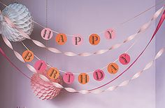 cool birthday banner.  i wonder what they do to keep letters in place.  Maybe a piece of sticky tape on back? Birthday Streamers, Birthday Garland, Printable Birthday Banner, Happy Birthday Banners, Birthday Decorations, Easy Decorations, 50th Birthday, First Birthday Parties, Pink Birthday