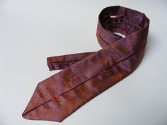 Men's Necktie with Colorful Piping - $25 - This hand-sewn purple/copper tie features a damask pattern and has a 131 cm length and 7.5 cm width. Hand Sewn, Damask, Copper, Colorful, Tie, Purple, Trending Outfits, Unique Jewelry, Boys