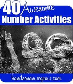 40 Number Learning Activities for Preschoolers. Plus many other preschool activities. Preschool Learning, Kindergarten Math, Teaching Math, Preschool Activities, Teaching Ideas, Alphabet Activities, Educational Activities, Early Learning, Babysitting Activities