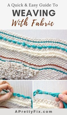 Excellent Absolutely Free weaving techniques tutorials Tips Weaving With Fabric: An Easy Way To Add Texture To Your Wall Weavings – A Pretty Fix Weaving Loom Diy, Weaving Art, Weaving Patterns, Tapestry Weaving, Stitch Patterns, Knitting Patterns, Weaving Projects, Easy Sewing Projects, Sewing Projects For Beginners
