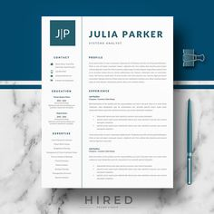 Modern Resume Templates Professional 3 Page Resume Template  Cv Extra Page Cover Letter