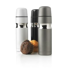 Contour flask. 500ml double wall and vacuum stainless steel flask with self-closing pourer and cup. Registered design®