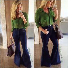 #mulpix Meninas olha que DEUSA essa calça cós alto super flare que chegou agora!! É da #lancaperfume e deixa o corpo maravilhoso!! Camisa…