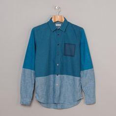 Folk Half Full Shirt in Chambray Printed