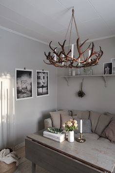 Cow Kitchen Decor, Antler Crafts, Rustic Interiors, Inspired Homes, Decoration, Cabins In The Woods, Horns, Living Spaces, Interior Decorating