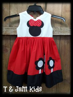 Girls' Minnie Mouse Dress on Etsy, $20.00