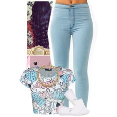 A fashion look from October 2013 featuring short sleeve shirts stretchy jeans and white flats. Browse and shop related looks. Dope Fashion, Fashion Killa, Urban Fashion, Teen Fashion, Runway Fashion, Fashion Looks, Fashion Outfits, Feminine Fashion, Fashion Spring