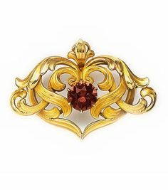 ART NOUVEAU | Pink tourmaline and carved gold brooch