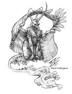 Black UniGryphon original pencil sketch  by Kandice Kathleen Zimbleman