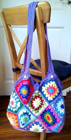 Crochet Granny Square Bag by honeycrochetcreation on Etsy, €55.00
