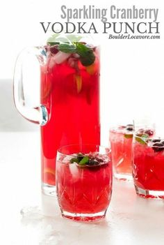 Sparkling Cranberry Vodka Punch is a 4 ingredient easy punch recipe with bright, delicious flavors of cranberry and ginger. Perfect for holiday parties and gatherings all year long! #punch #cranberry #ginger #holidaypunch #easyrecipe #partyrecipe #cocktail #recipe via @boulderlocavore
