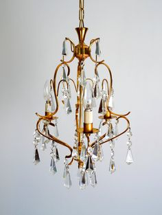 Crystal CHANDELIER Lighting Mid Century Vintage Brass Murano Italian Style , Italy 1950s, by VintageofItaly on Etsy https://www.etsy.com/ca/listing/451066830/crystal-chandelier-lighting-mid-century