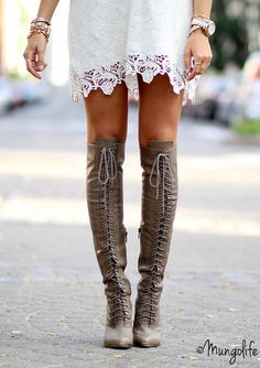 Super Tall Lace-Up Boots + Lace Dress