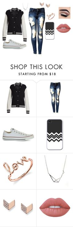 """""""friday night football game #2"""" by jayden5409 ❤ liked on Polyvore featuring Marc Jacobs, Converse, Sydney Evan, FOSSIL and Lime Crime"""
