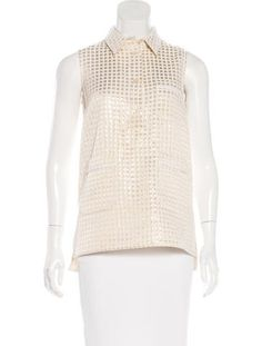 From the Summer 2014 Collection. Metallic gold and beige Marni lamé check patterned top with pointed collar, three patch pockets at front and button closures at front.