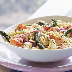 Salmon, Asparagus, and Orzo Salad with Lemon-Dill Vinaigrette | MyRecipes.com