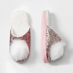 96d03560f19783 Girls  Glitter Slide With Pom Slippers - Cat  amp  Jack™ Pink   Target